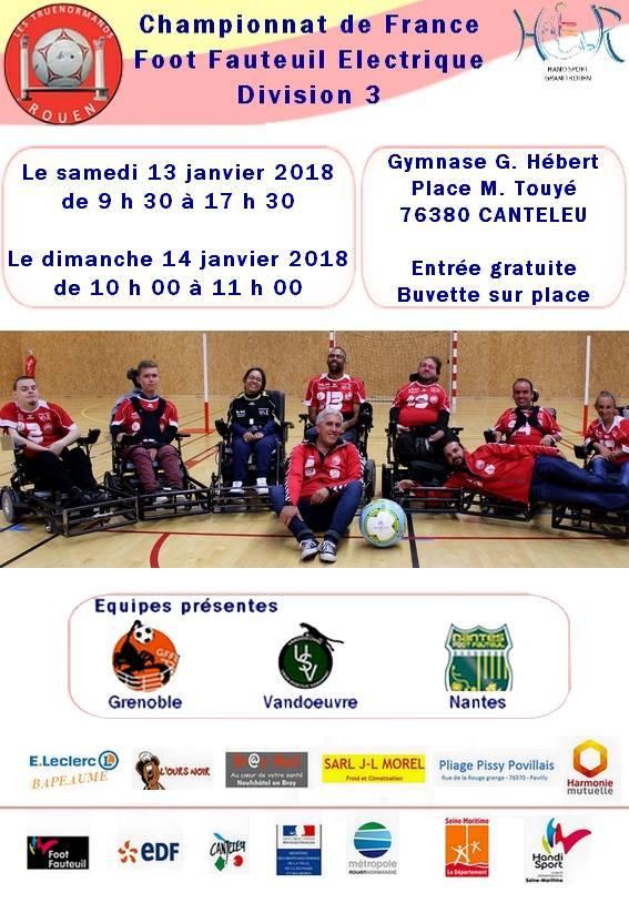 Affiche foot fauteuil championnat de France Division 3 à Canteleu