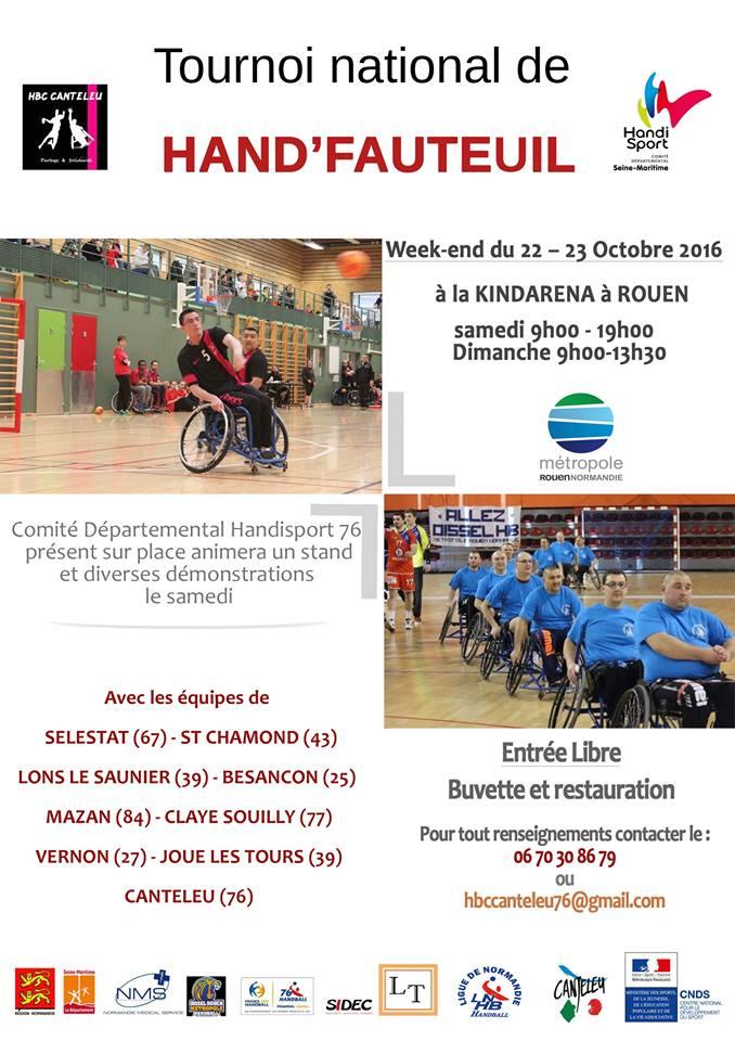 Tournoi Hand Fauteuil Kindarena 22 et 23 octobre 2016
