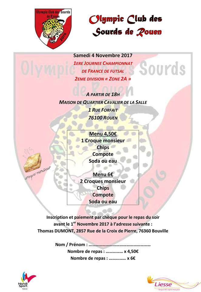 championnat  de France 2eme div Foot sourds 4 novembre 2017