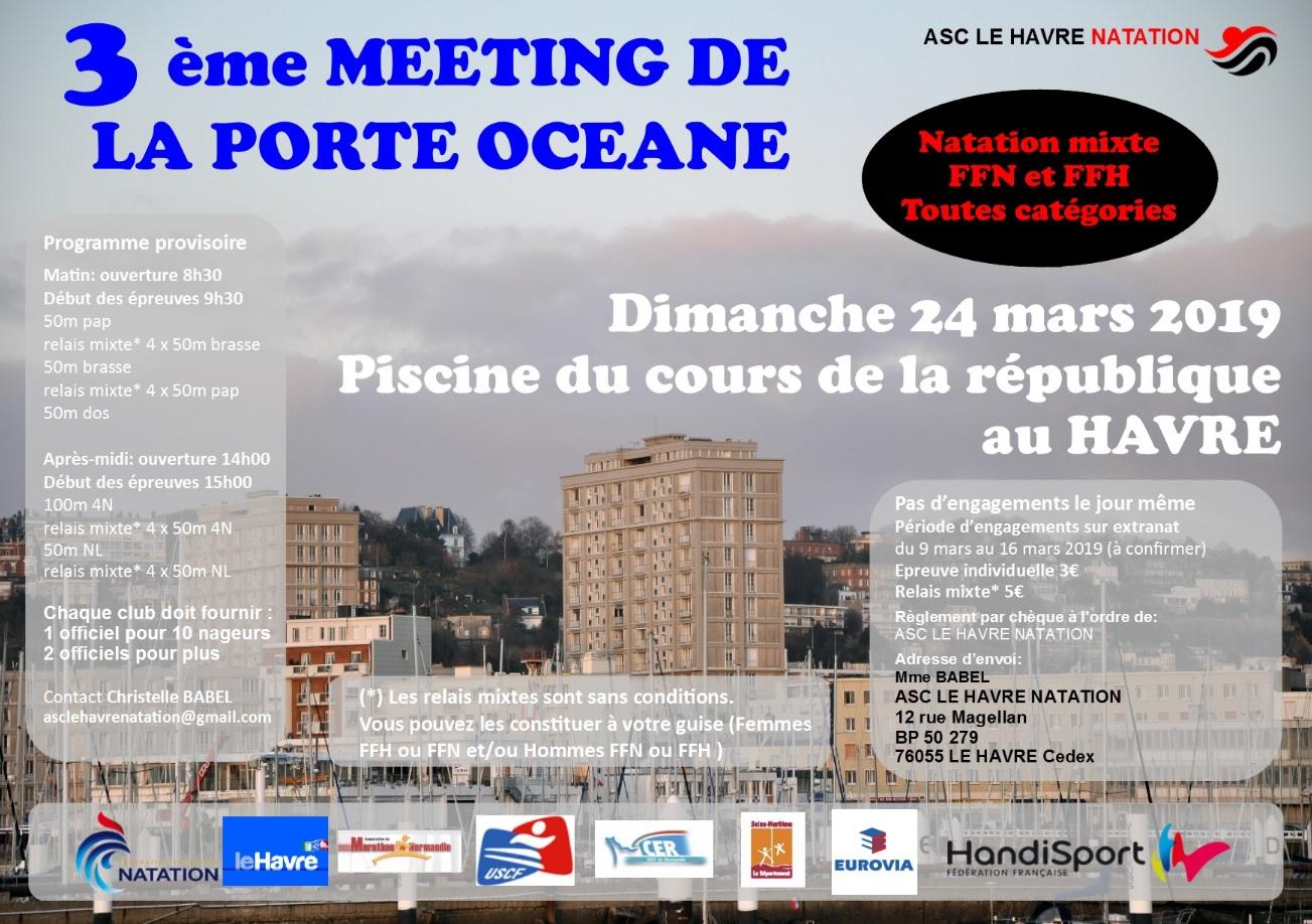 affiche meeting de natation du 24 mars 2019