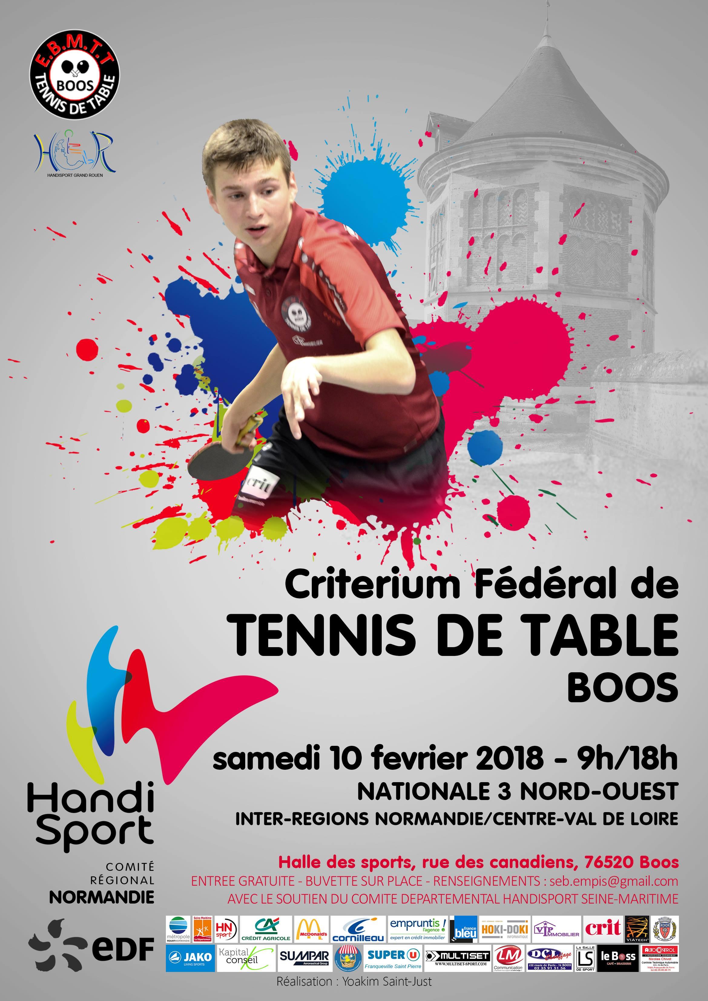 Tournoi division 3 de Tennis de Table Handisport le 10 février à Boos